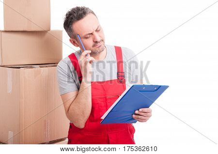 Mover Guy Making Thinking Gesture And Holding Clipboard