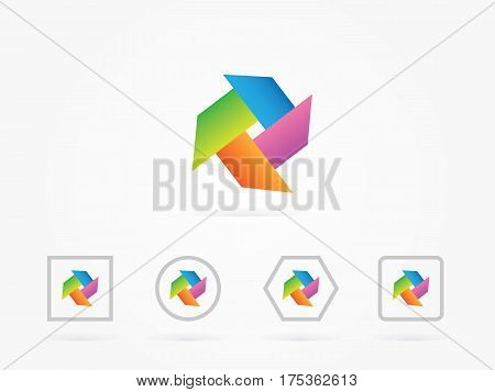 Vector Illustration pinwheel elements with rainbow colors for website design