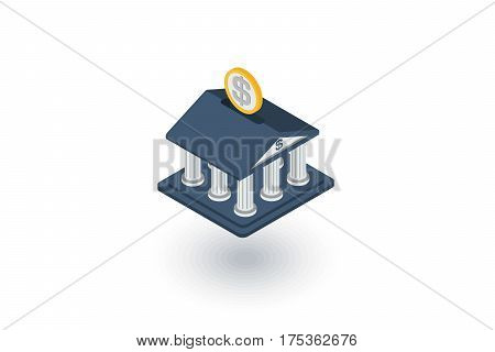 bank isometric flat icon. 3d vector colorful illustration. Pictogram isolated on white background