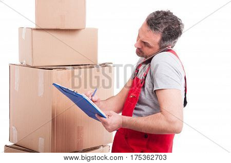 Mover Guy Multitasking With Clipboard And Phone