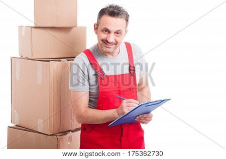 Mover Guy Smiling And Counting Or Writing On Clipboard