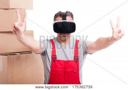 Mover Guy Wearing Virtual Reality Glasses Making Peace Gesture
