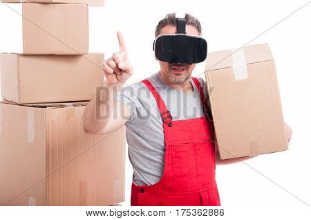 Mover Man Wearing Virtual Reality Glasses Holding Box