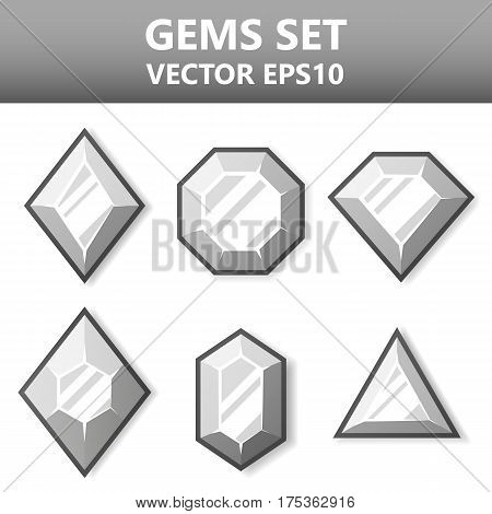 Modern vector set of colorful gems for website or mobile application. Bright and stylish elements for you design