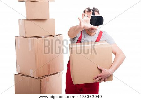 Mover Guy Wearing Virtual Reality Glasses Holding Box