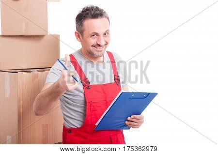 Mover Guy Smiling And Showing Thumb Up Holding Clipboard