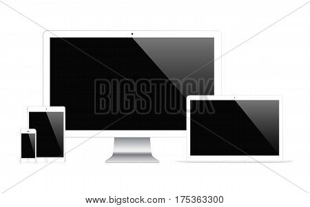 mockup gadget and device: smartphones tablets laptops and computer monitors with blank screen isolated on white background. stock vector illustration eps10