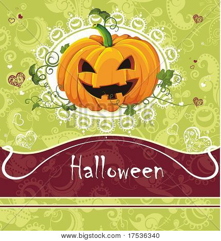 Card for Halloween Congratulations with ornament and text. Vector framework for invitations.