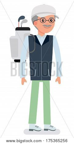 Flat vector illustration. Older successful man goes to play Golf. illustration on white background