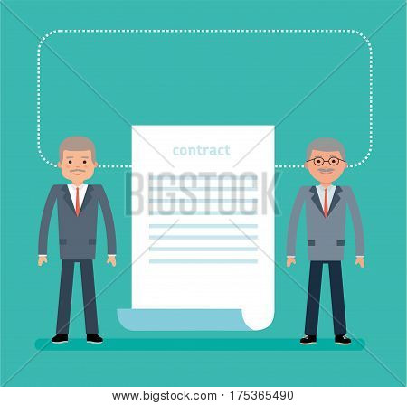 Concept flat vector business illustration. Agreement. The contract. Businessmen have signed a contract for the supply of equipment