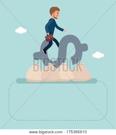 Concept flat vector business illustration. Stock exchange. Financial Rodeo. Young broker riding a dollar sign, he's trying to resist. Concept banner