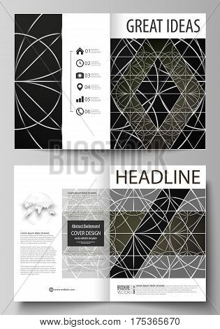 Business templates for bi fold brochure, magazine, flyer, booklet or annual report. Cover design template, easy editable vector, abstract flat layout in A4 size. Celtic pattern. Abstract ornament, geometric vintage texture, medieval classic ethnic style.