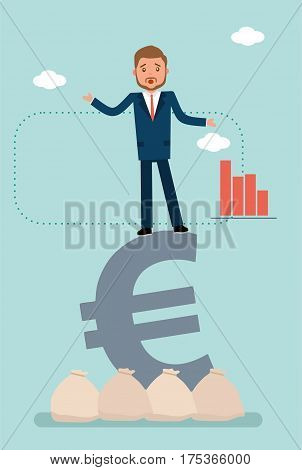 Concept flat vector business illustration. Stock broker. Stock exchange. A businessman falls from the Euro sign.