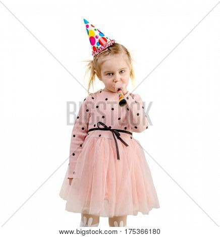 girl wearing birthday cap, dressed in pink with polkadot, lovely hair, isolated on white background