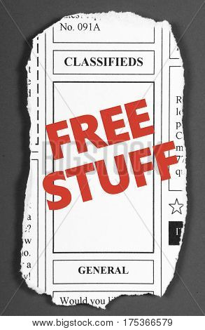 Newspaper clipping from the classified advertising section with the words FREE STUFF added in red text
