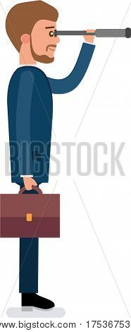 Concept flat vector business illustration. Young broker looking through a telescope, analyzes the market
