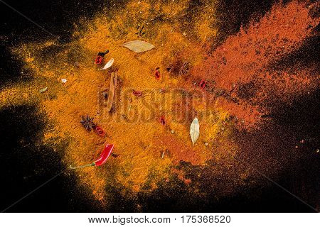 The Curry spice background on black background