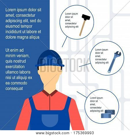 Plumber Vector illustration Template of poster with plumber and tools for work on white background with tap scheme Flat design