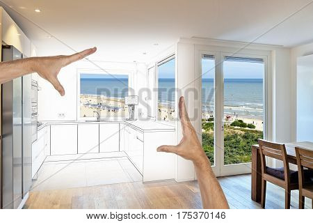 Planned renovation of a Open modern kitchen from loft with view on beach at summer
