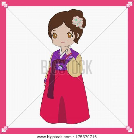 Korean girl wearing traditional dress, Korean Hanbok vector illustration