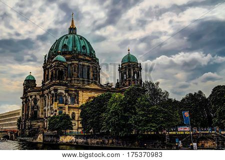 Exterior view to Berlin Cathedral and Spree river Germany