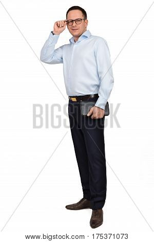 Portrait Of Young Prosperous Businessman In Spectacles Dressed In Formal Shirt And Trousers, Holds B