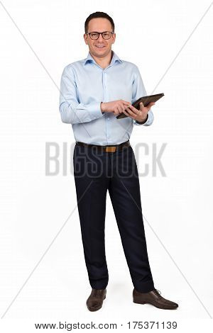 Young Prosperous Business Man Dressed In Shirt And Trousers Work On Digital Tablet, Skilled Male Ent