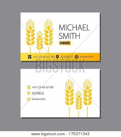 Business card of the farmer. Wheat. Eps 10