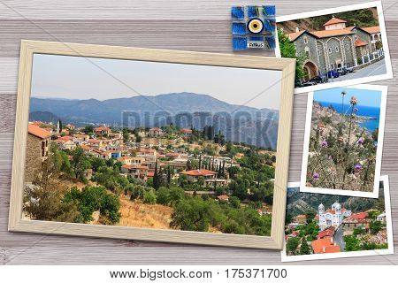 Beautiful snapshots of various Cyprus landscapes villages monastery in wooden frames arranged on rustic background horizontal top view.