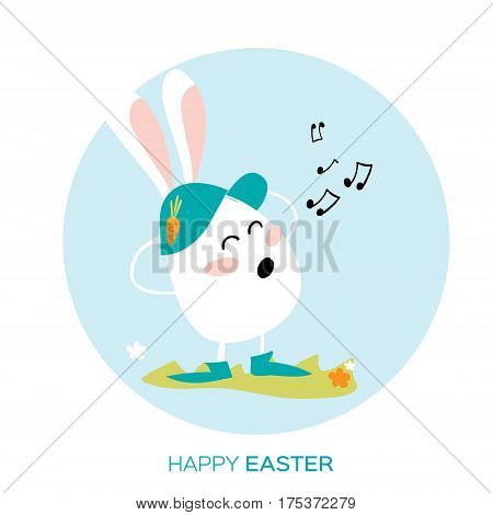 Bunny singing. White easter rabbit. Happy Easter Greeting card. Funny Bunny. Space for text. Vector illustration.