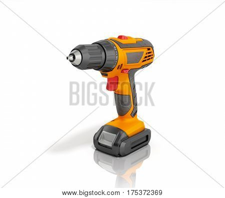 Combi Drill Impact Drill And Screw Driver 3D Render Isolated On White Background
