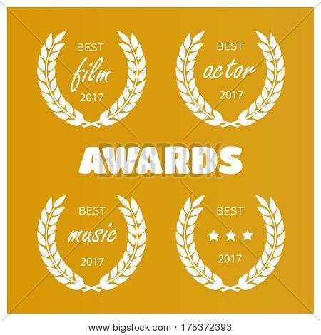 Set of awards for best. Film award wreaths isolated vector