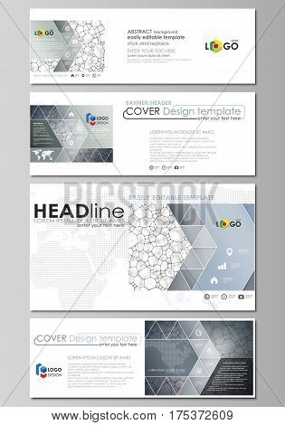 Social media and email headers set, modern banners. Business templates. Easy editable abstract design template, vector layouts in popular sizes. Chemistry pattern, molecular texture, polygonal molecule structure, cell. Medicine, science.