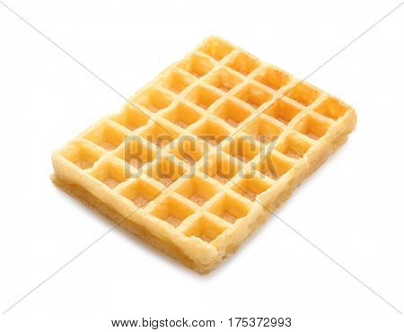 Tasty waffle on white background