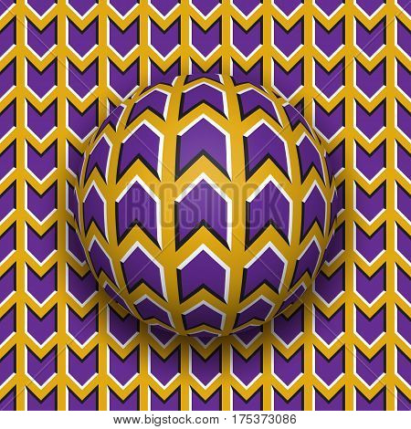 Ball rolls along surface. Abstract vector optical illusion illustration. Purple arrows on golden pattern motion background. Tile of seamless wallpaper.