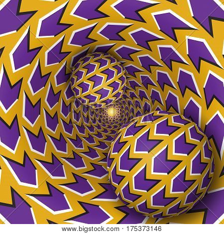 Optical illusion illustration. Two balls are moving on rotating funnel. Purple arrows on golden pattern objects. Abstract fantasy in a surreal style.