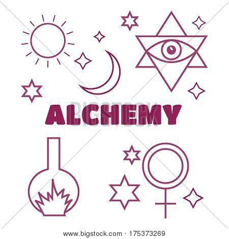 Alchemy spirituality symbols in flat style vector. Alchemy vector