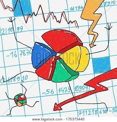 Vector Cartoon Financial Crisis eps 8 file format