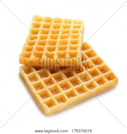 Tasty waffles on white background