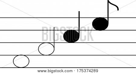 Notes and warp on white background. Vector Illustration.