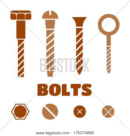 Construction hardware icons. Screws bolts nuts and rivets vector