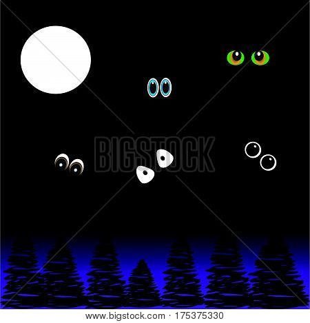 Eyes in the night on black - purple background with moon and trees. Vector Illustration