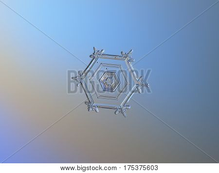 Macro photo of real snowflake: small snow crystal of star plate type (around 2 millimeters from tip to tip) with simple hexagonal shape, tiny arms, simple pattern and relief center, glitters on dark gray - blue gradient background.