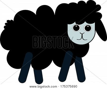 Black sheep on white background. Vector illustration. Eps10