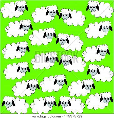 Flock of sheep on green background . Vector illustration.