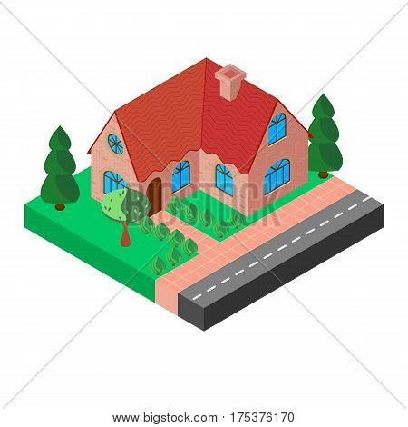 An old mansion with a red roof and a chimney