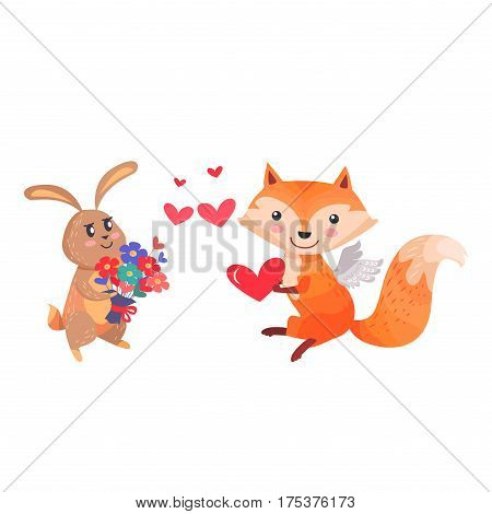 Lovely rabbit and sexy vixen with bushy tail. Bunny with bouquet of flowers and fox with angel wings holding red heart in paws isolated. Romantic hare wishes you love. Valentines day concept vector