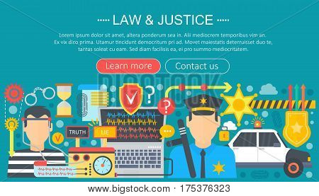 Law and justice design concept with justice icons infographics template design, web header elements, poster banner. Crime Vector illustration