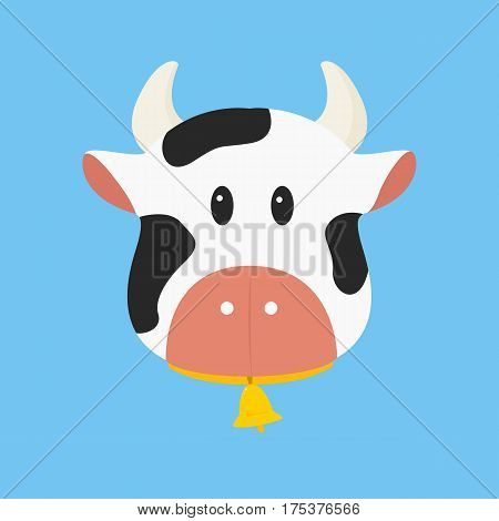 black and white cow with bell vector illustration in blue background