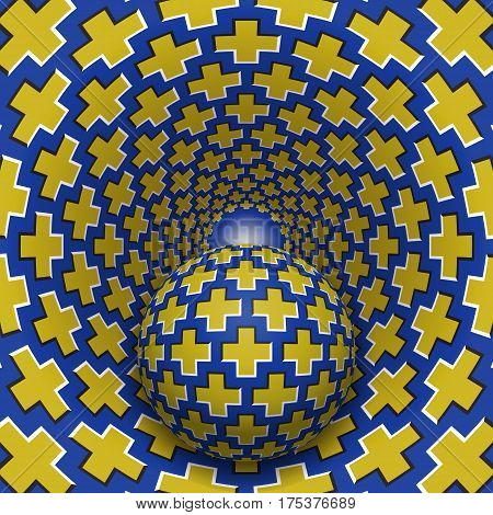 Optical illusion illustration. Ball is moving in mottled hole. Yellow crosses on blue pattern objects. Abstract fantasy in a surreal style.